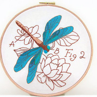 Blue Dragonfly hand embroidery, decorative embroidered wall hanging, 8 inch embroidery insect art, handmade in the UK