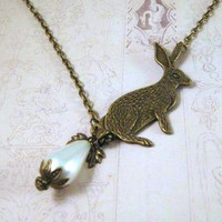 Antiqued Bronze Bunny Rabbit Necklace Jewelry With White Pearl   Luulla