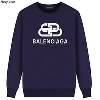 Balenciaga Tide brand headband men and women interlocking double B letter long sleeve round neck sweater Navy blue