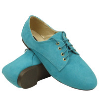 Womens Lace Up Suede Oxford Blue