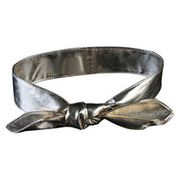 Silver Faux Leather Tie Waist Belt
