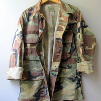 Vintage Camo Army Jacket Shirt Camouflage Green Used Military Bdu Short Medium