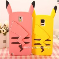 Cute 3D Cartoon Pikachu Silicone soft Case cover for samsung galaxy S6 S5 note34