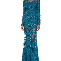 Elie Saab Beaded Sheer-Inset Lace Gown, Capri Blue