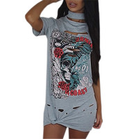 Sexy Holes Women Summer Dress Short Sleeve Printed Loose Casual Dresses Vestidos Halter Sexy Laides Mini Dress Sundress GV577