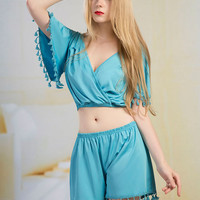 Blue Fringed Top And Shorts Two Piece Set 9730