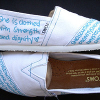 The Lydia - Light Blue and White Custom TOMS