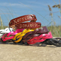 His and Hers Engraved Bracelets - Personalized Couples Braided Bracelets - Custom Leather Bracelets