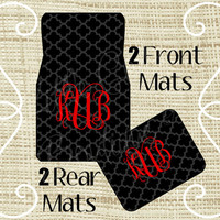Custom Personalized Set of Car Floor Mats - Front and or Rear Back, Monogrammed Car Mats, Moroccan Black Charcoal Red