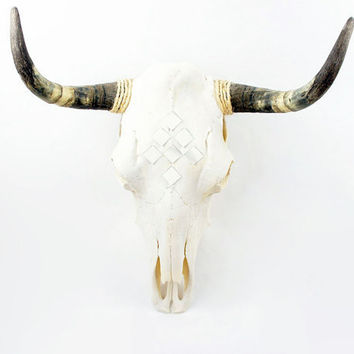 cow skull mosaic mirror by skyparlor on Etsy