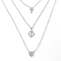 .925 Sterling Silver Cross Anchor Heart Necklace