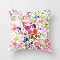 Field of Spring Flowers Throw Pillow by Yao Cheng Design