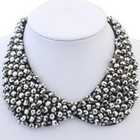 Metallic Pewter Beaded Chain Collar Necklace