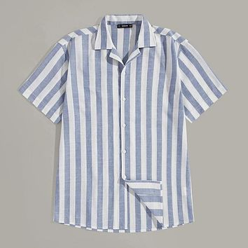Fashion Casual Men Button Up Notched Striped Shirt