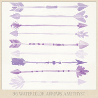 Watercolor Purple clipart arrows (36 pc) purple lilac amethyst violet. hand painted for logo design, blogs, cards, printables wall art