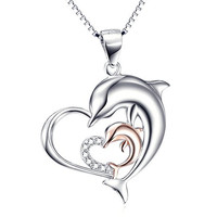 """Angel caller Sterling Silver Rose Gold Double Dolphin Love Heart Pendant Necklace 18"""""""