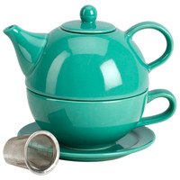 Tea for One w/ Infuser Set, Teal, Tea Cups & Saucers