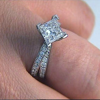1.90ct E-SI1 Star Wars Princess Diamond  Engagement Ring Platinum JEWELFORME BLUE GIA certified