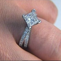 1.73ct Star Wars Princess Cut Diamond Engagement Ring 18kt White Gold GIA EGL JEWELFORME BLUE