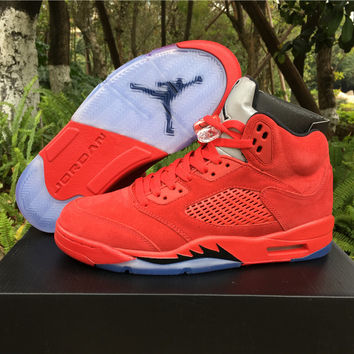 "Air Jordan 5 Retro ""Raging Bull"" 2017 Red Mens Leather Sneaker"