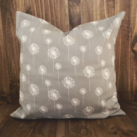 Gray Dandelions 16 x 16 Pillow Cover, houswarming gift, cushion cover, spring room decor, kids bedroom