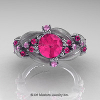 Nature Classic 14K White Gold 1.0 Ct Pink Sapphire Leaf and Vine Engagement Ring R340-14KWGPS
