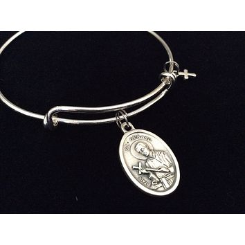Saint Gerard Medal Silver Expandable Charm Bracelet Double Sided Adjustable Wire Bangle Stacking Trendy Patron Fertility