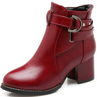 Women's High Heeled Shoes Soft PU Leather Round toe Square Heel Platform Ankle Boots