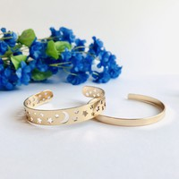 Stars and Moon Cuff Bracelet Set - Silver/Gold