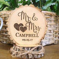 Rustic Wedding Cake Topper, Wood Cake Topper, Wood Slice Cake Top, Mr & Mrs Cake Topper, Engraved Personalized Cake Topper, Country Wedding