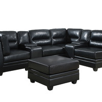 Black Bonded Leather Console
