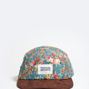 Portland Rose Five Panel Floral Hat in Teal