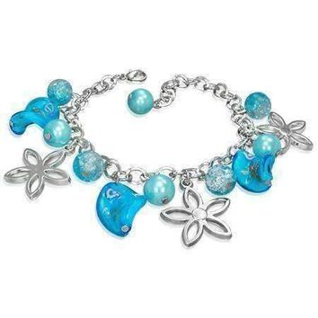 Daisy Chain Lamp Work Glass Bead Charm Bracelet for Women ~ Three Colors to Choose