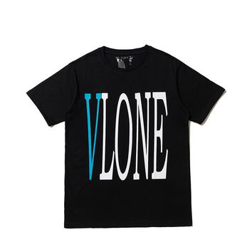 Men's shirt spring and summer fashion VLONE LIFE personality lone letters Europe and the United States popular youth trend new T-shirt