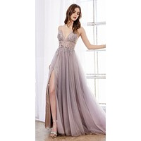 Ombre V-Neck and Back Beaded Long Prom Dress Blush/Mauve