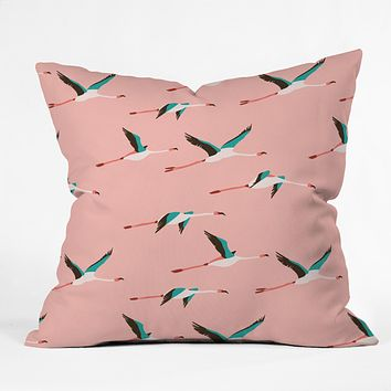 Holli Zollinger Flamingo Pink Outdoor Throw Pillow