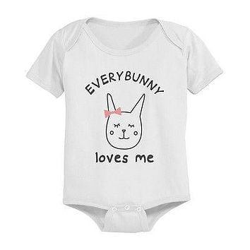 Everybunny Loves Me Baby Bodysuit - Pre-Shrunk Cotton Snap-On Style Baby Onesuit