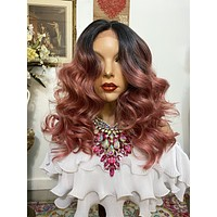 """Pink ombré SILK LACE 4x4 freestyle part HD lace front wig 22"""" Undetectable hairline + Lots of Volume and Curls 1-18"""