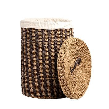 Lined Laundry Basket With Lid