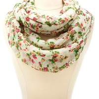 Mini Rose Floral Print Infinity Scarf by Charlotte Russe