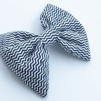 Black And White Hair Bow, Optical Illusion Large Hair Bow, For Girls, For Women