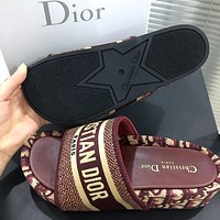 Dior Women's Letter printed platform slippers