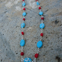 Turquoise Howlite and Bamboo Coral Wire Wrapped Necklace