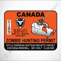 Zombie Hunting Permit Canada Sticker Vinyl Decal The Walking Dead Apocalypse Team Honda Acura Turbo Jeep Dodge