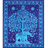 Large Blue Elephant Tree Tapestry Wall Hanging, Tree of Life Bedspread on RoyalFurnish.com