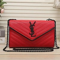 "Yves Saint Laurent YSL"" Fashion Personality Twill Metal Chain Single Shoulder Messenger Bag Women Envelope Small Square Bag"