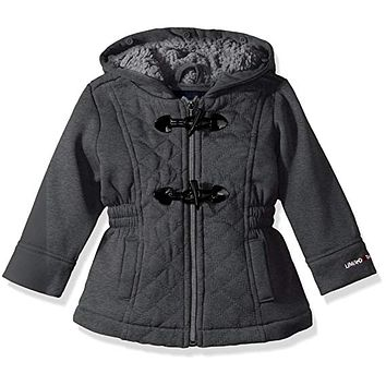 Limited Too Girls Quilted Toggle Fleece Jackets Black Puffer