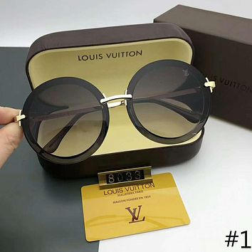 LV Louis Vuitton 2018 trendy male and female models retro round frame sunglasses F-A-SDYJ #1