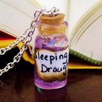 Sleeping Draught Potion Necklace. Ingredient Card Included. 18 inch Silver Tone Chain.