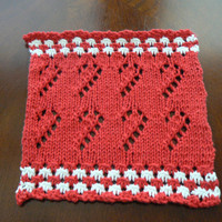 Hand Knit Red and White Candy Canes on Parade Dish Cloth or Wash Cloth